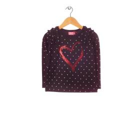 Bluza bleumarin fetite - model inimioara rosie