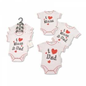 Set 3 body bebelusi - I love Mum & Dad