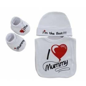 "Set botosei, caciulita si baveta bebelusi - ""I love Mummy"""