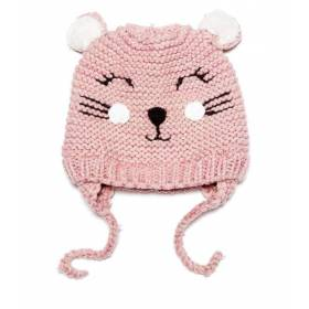 Caciulita roz bebeluse - model pisicuta