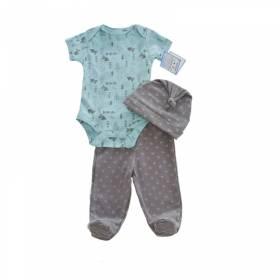 Costumas 3 piese bebelusi -body pantalon si caciulita