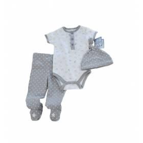 Compleu 3 piese bebe - body, pantalon, caciulita