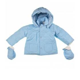 Geaca bleu bebelusi - model cu gluga si manusi