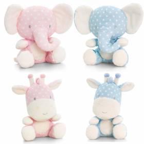 Jucarie plus girafa sau elefantel roz/bleu