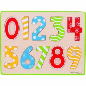 Puzzle lemn cifre colorate