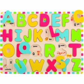 Puzzle lemn litere colorate