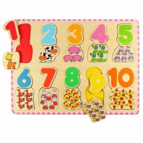 Puzzle lemn cifre si animalute