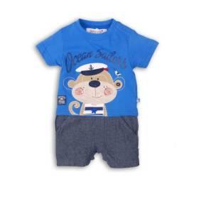 Romper albastru bebelusi - model maimutica