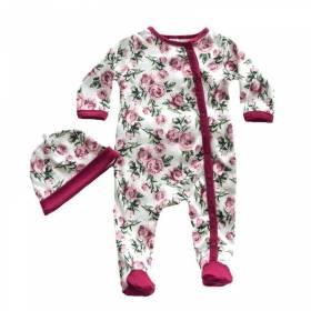 Salopeta si caciulita bebeluse - model floricele