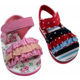 Sandale cu volane pentru bebeluse