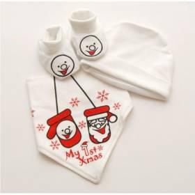 "Set alb ""My first Christmas"" bebelusi - baveta, botosei si caciulita"