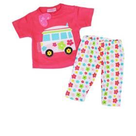 Set bluza si pantalon model floricele pentru bebeluse