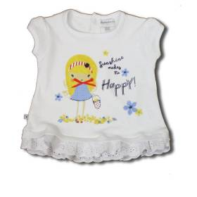 Tricou alb bebeluse - model cu dantela