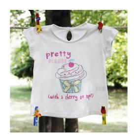 Tricou alb bebeluse - model briose