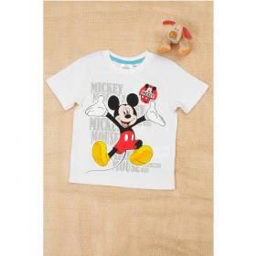 Tricou alb Mickey Mouse baietei