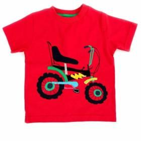 Tricou rosu baietei - model bicicleta