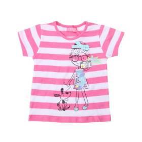 Tricou cu paiete fetite - model dungi roz