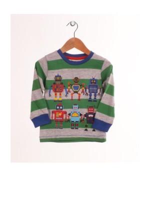 Bluza baietei- dungi verzi si model roboti
