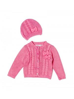 Pulover si caciulita roz bebeluse