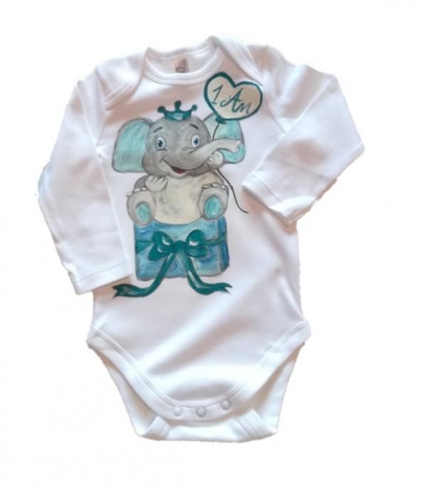 body aniversar bebe 0-3-6-9-12 luni model elefantel