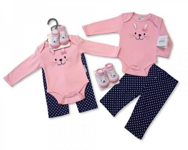 set cadou bebe nounascut, 0 - 3 luni, 3 - 6 luni model iepuras