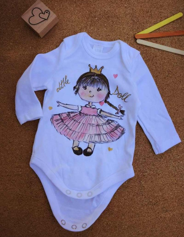 body pictat manual pentru bebe 0-3-6-9-12 luni