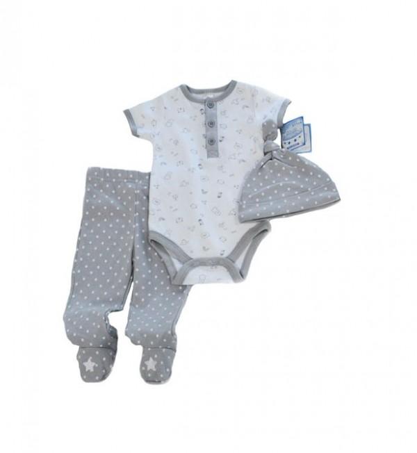 costumase bebe 0-3-6-9 luni body, pantaloni, caciulita