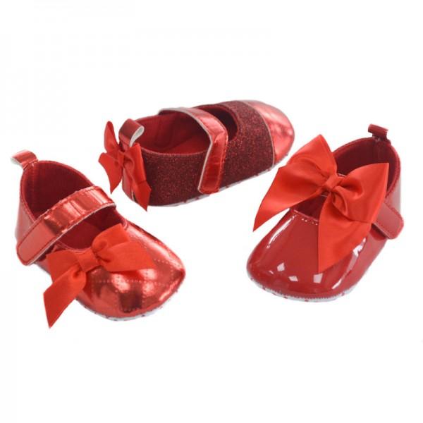 papucei rosii fetite 0-3-6-12 luni