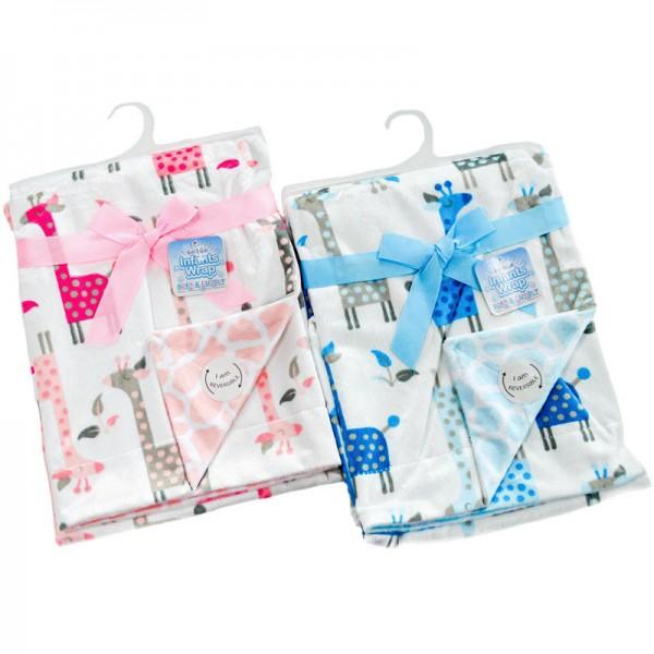 patura bebe roz sau bleu girafe