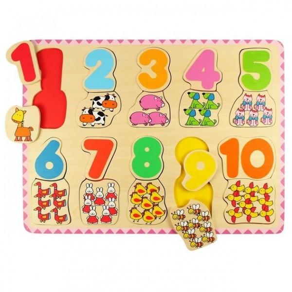 puzzle lemn cifre copii Bigjigs