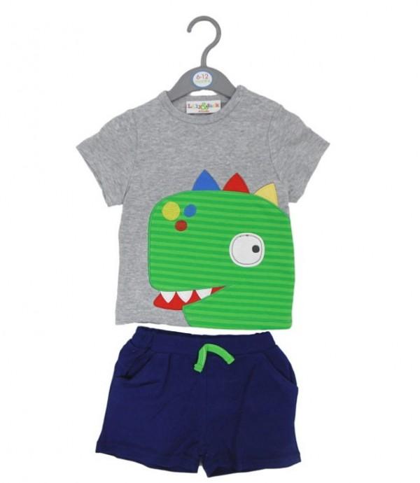 tricou si pantalon scurt dinozaur bebe 6-1-2-18-24 luni