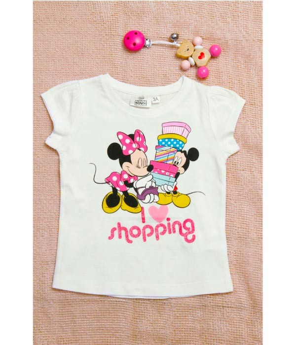 Tricou model Minnie pentru fetite cu varste de 3 ani -8 ani, marca Disney